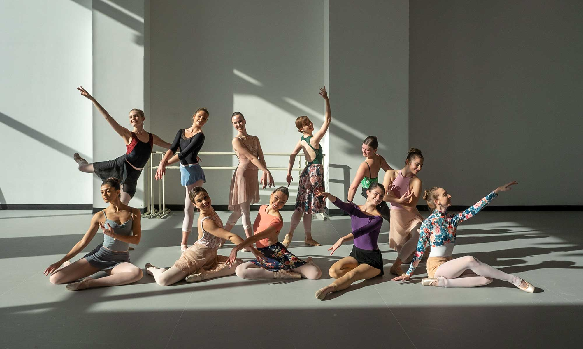 dancers in American Midwest Ballet's new studios at the Hoff Family Arts & Culture Center